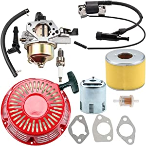 Dalom GX390 Carburetor + Recoil Starter + Ignition Coil + Air Filter for Honda GX 390 13HP Carb Replaces 16100-ZF6-V01 16100-ZH8-W61