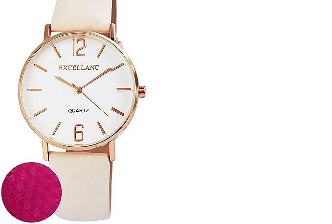 """Mujer Reloj Blanco Rosa""""Cambio de color piel analógico de cuarzo reloj de pulsera"""