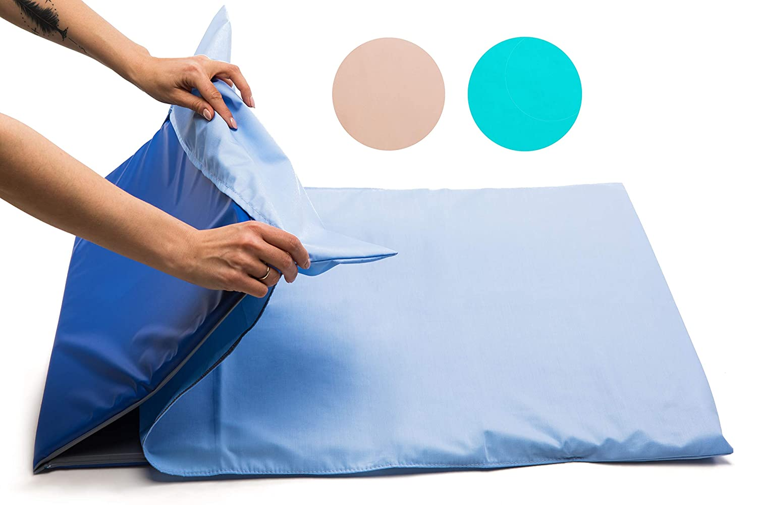 Fitted Sheet, Aqua Nursery Sleep MAT /♥ Waterproof /• Triple Folding Rest Mats /• Toddler Sleeping Mattress /• Baby Nap Time /• No 1 Choice for Childminder and Daycare