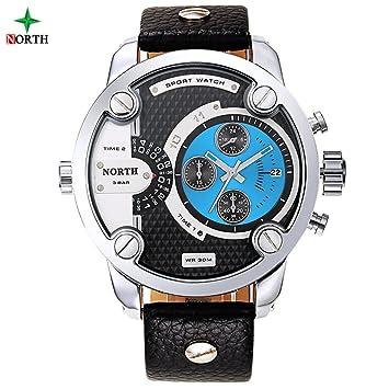 Reloj de Cuarzo 5 Tipos de Hombres Reloj de Pulsera Electrónico Fecha con Esfera Redonda y Correa de Cuero(turquesa): Amazon.es: Belleza