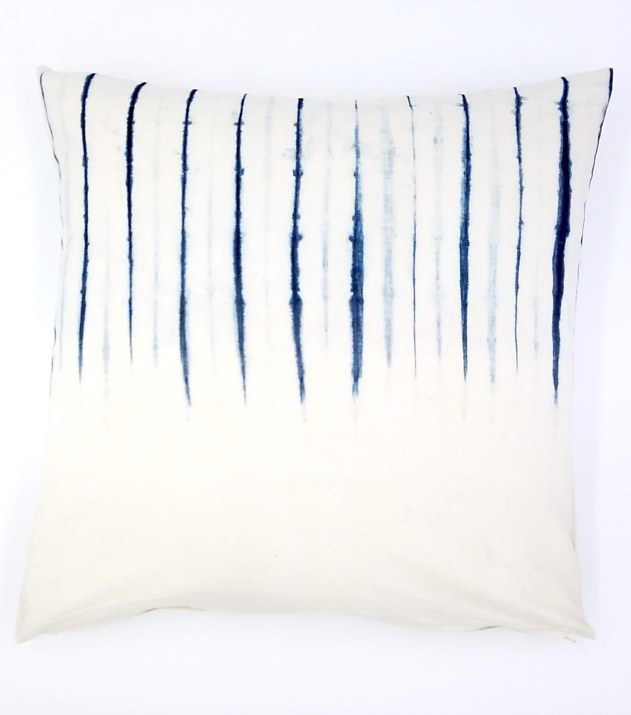 Upcountry Textiles, Shibori Indigo Throw Pillow Cover, Cotton, 20''x 20'' by Upcountry Textiles