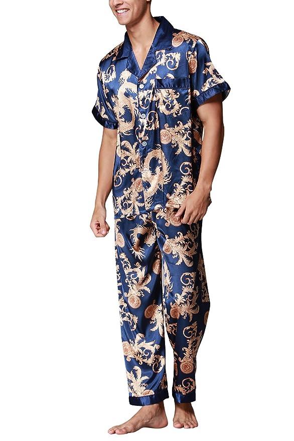 Dolamen Pijamas para Hombre Satén, Hombre largos Primavera Verano Impresión Retro, Hombre camisones Pijamas de parejas, Collar con bolsillo con botones: ...
