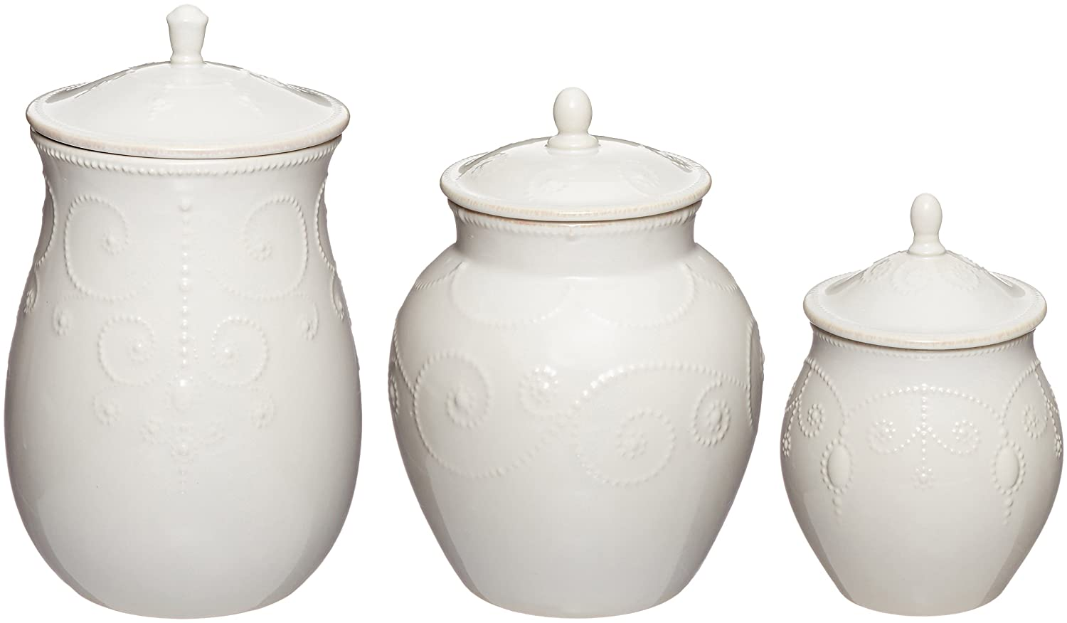 amazon com lenox french perle canisters set of 3 white