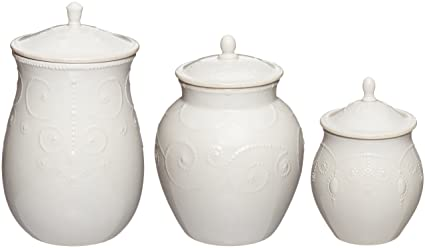 Lenox French Perle Canisters Set of 3 White  sc 1 st  Amazon.com & Amazon.com | Lenox French Perle Canisters Set of 3 White ...
