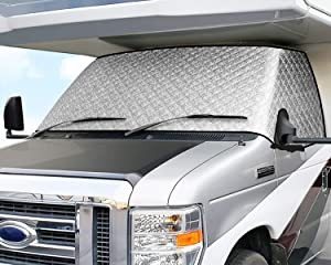 ELUTO RV Windshield Cover Class C Ford 1997-2020 RV Front Window Cover RV Motorhome Windshield Cover with Mirror Cutouts