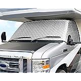 ELUTO RV Windshield Cover Class C Ford 1997-2020 RV Front Window Cover RV Motorhome Windshield Cover with Mirror Cutouts