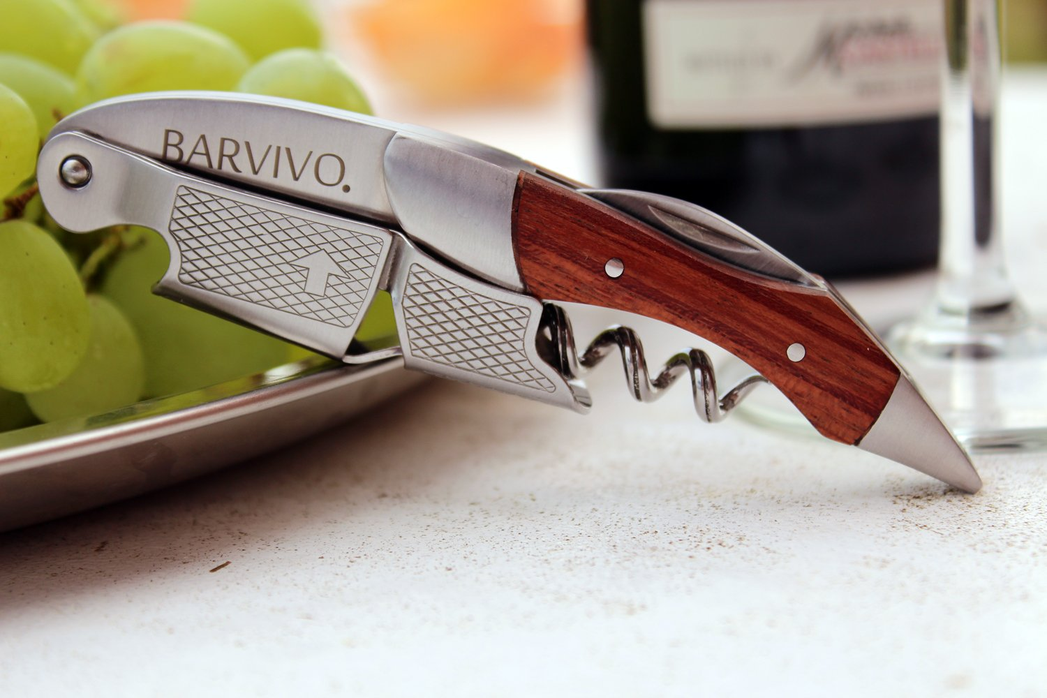Professional Waiters Corkscrew by Barvivo - This Wine Opener is Used to Open Beer and Wine Bottles by Waiters, Sommelier and Bartenders Around the World. Made of Stainless Steel and Natural Rosewood. by Barvivo (Image #6)