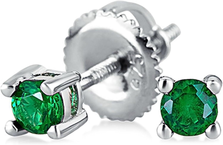 .25Ct Diminutos De Color Verde Brillante Solitario Cubic Zirconia CZ Pendiente De Boton Screwback Esmeralda Simuladas