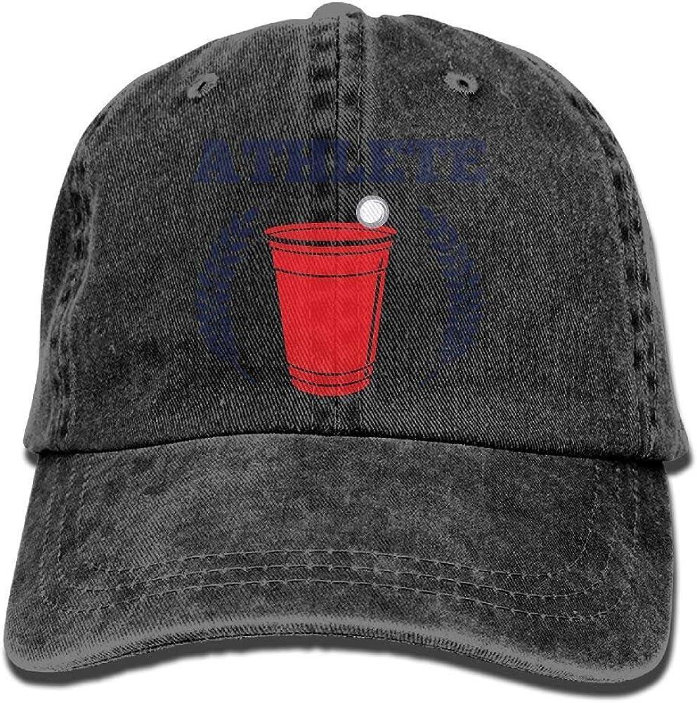 Hoswee Unisexo Gorras de béisbol/Sombrero, Beer Pong Athlete Trend Printing Cowboy Hat Fashion Baseball Cap for Men and Women Black