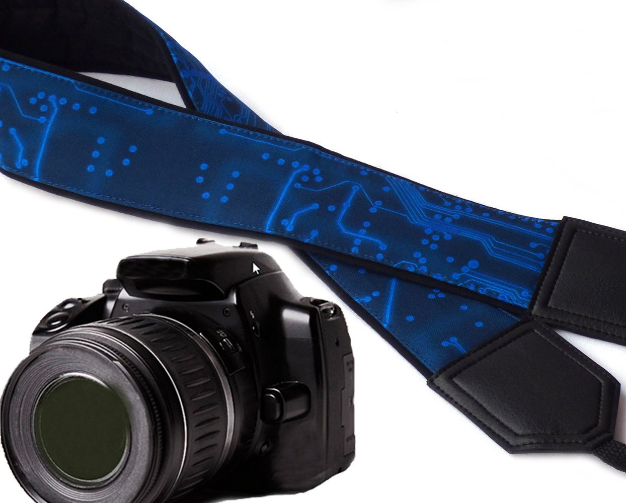 Computer camera strap. Microscheme camera strap. Circuit board camera strap. Black and blue original DSLR / SLR camera strap. Durable, light weight and well padded camera strap. code 00112