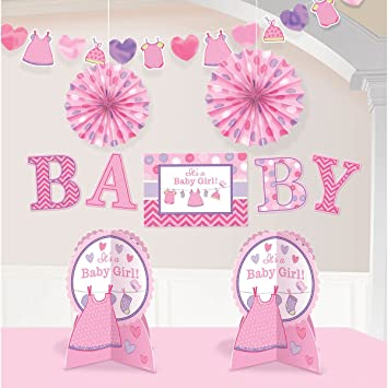 Amscan Delightful Shower With Love Girl Room Decorating Kit Baby Shower  Party Decorations (10 Piece