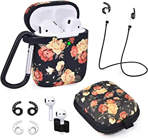 Airpods Case - Airspo 7 in 1 Airpods Accessories Set Compatible with Airpods 1 & 2 Protective Silicone Cover Floral Print Cute Case (Black Rose)