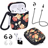 Airpods Case - Airspo 7 in 1 Airpods Accessories Set Compatible with Airpods 1 & 2 Protective Silicone Cover Floral Print Cut