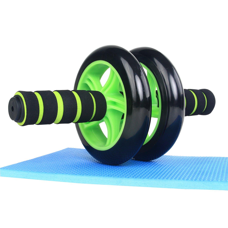 ISE Bauchroller, Bauchrad, Bauchtrainer, Bauchmuskeltrainer, AB-Wheel, Roller Whell – mit einem Doppelrad – Durchmesser: 18 cm, Länge: 25 cm Länge: 25 cm