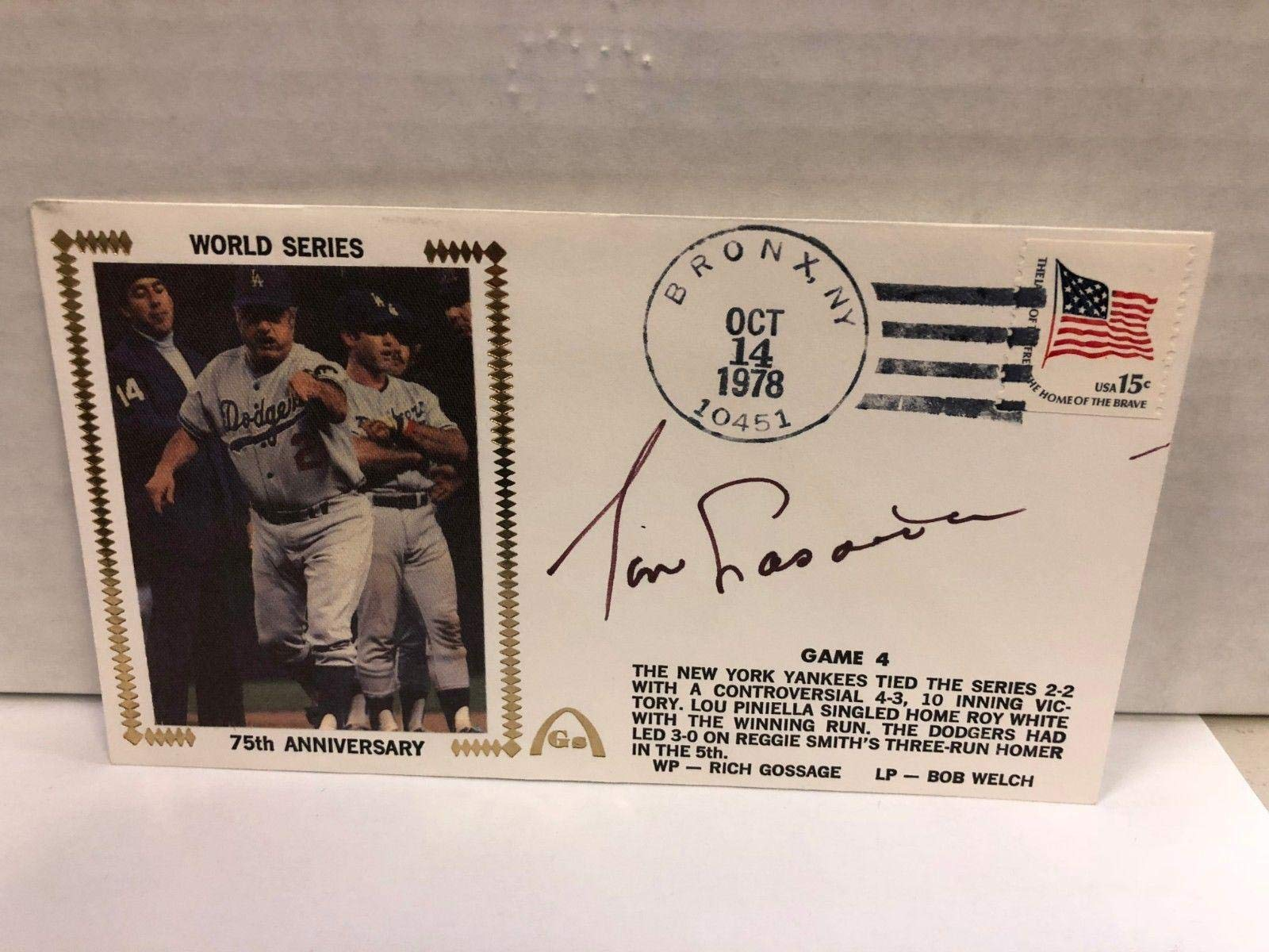 Tommy Lasorda Autographed Signed Original Silk Cachet First Day Issue COA JSA Certified MLB Cut Signatures