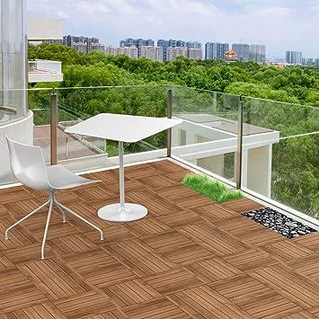 11x Wood Flooring Patio Pavers Decking Tiles Interlocking Outdoor
