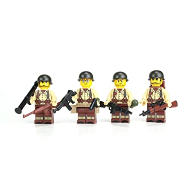 Battle Brick US Army WW2 Tan Soldiers Complete Squad (S41) Custom Minifigures: Toys & Games