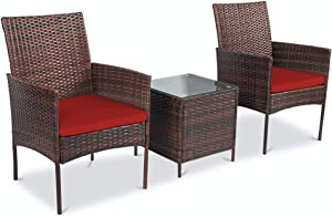 Pyramid Home Decor Alvino Patio Bistro Set 3-Piece Outdoor Wicker Furniture Sets, Modern Rattan Garden Conversation Chair with Thick Cushion and Glass Top Coffee Table (Red)