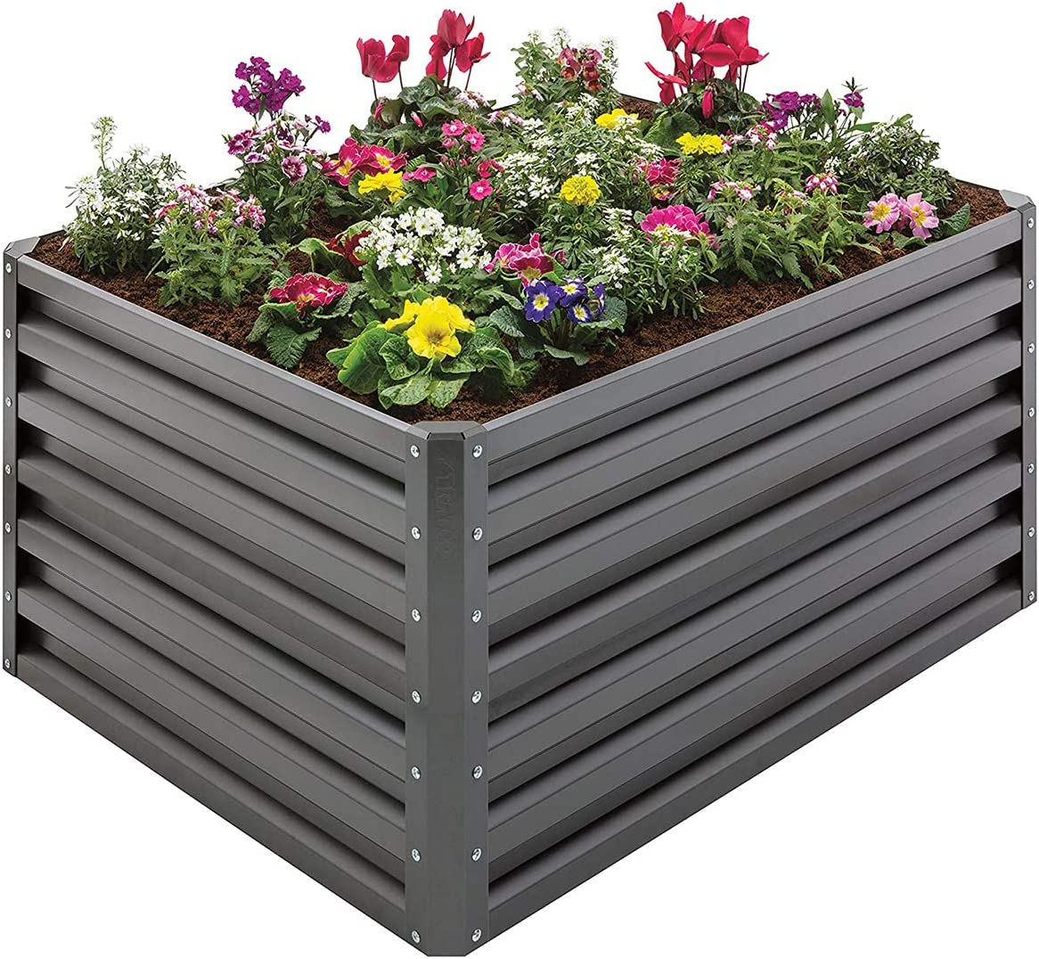 Stratco Raised Steel Metal Outdoor Decor Rectangular Tall Vegetable Garden Herb Bed Planter Box 20 Cubic Ft. Capacity, 46 x 35 x 62 Inches, Slate Gray