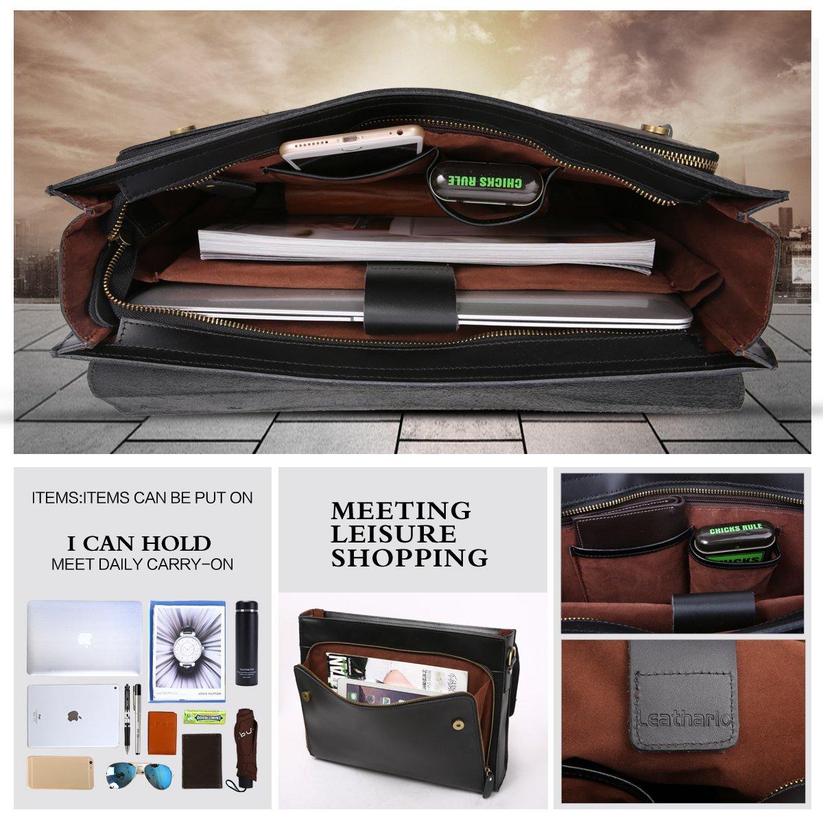 Leathario Leather Briefcase for Men Leather Laptop Bag Shoulder Messenger Bag Business Work Bag by Leathario (Image #3)