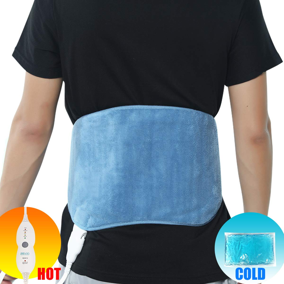 REVIX Lower Back Heating Pad with Hot Cold Gel Pack and Adjustable Belt, Electric Heat Wrap for Waist Lumbar Stomach and Shoulder Pain Relief, UL Listed, Blue by REVIX