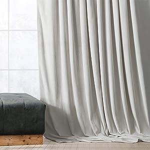 HPD Half Price Drapes VPCH-160401-108 Signature Blackout Velvet Curtain (1 Panel), 50 X 108, Reflection Grey