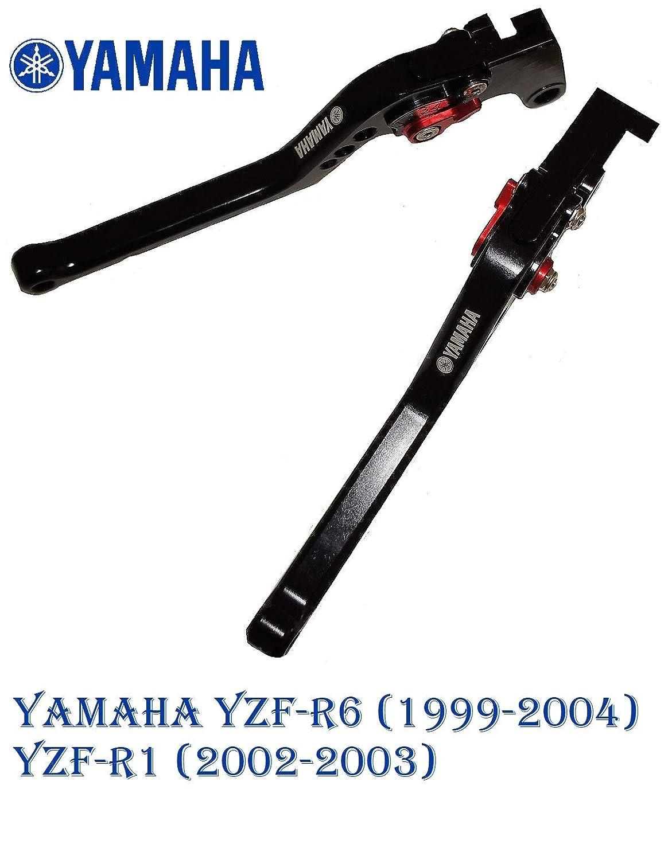 1999-2004 corto con logo Nero 2002-2003 Leva della frizione e del freno regolabile per Yamaha YZF-R6 YZF-R1