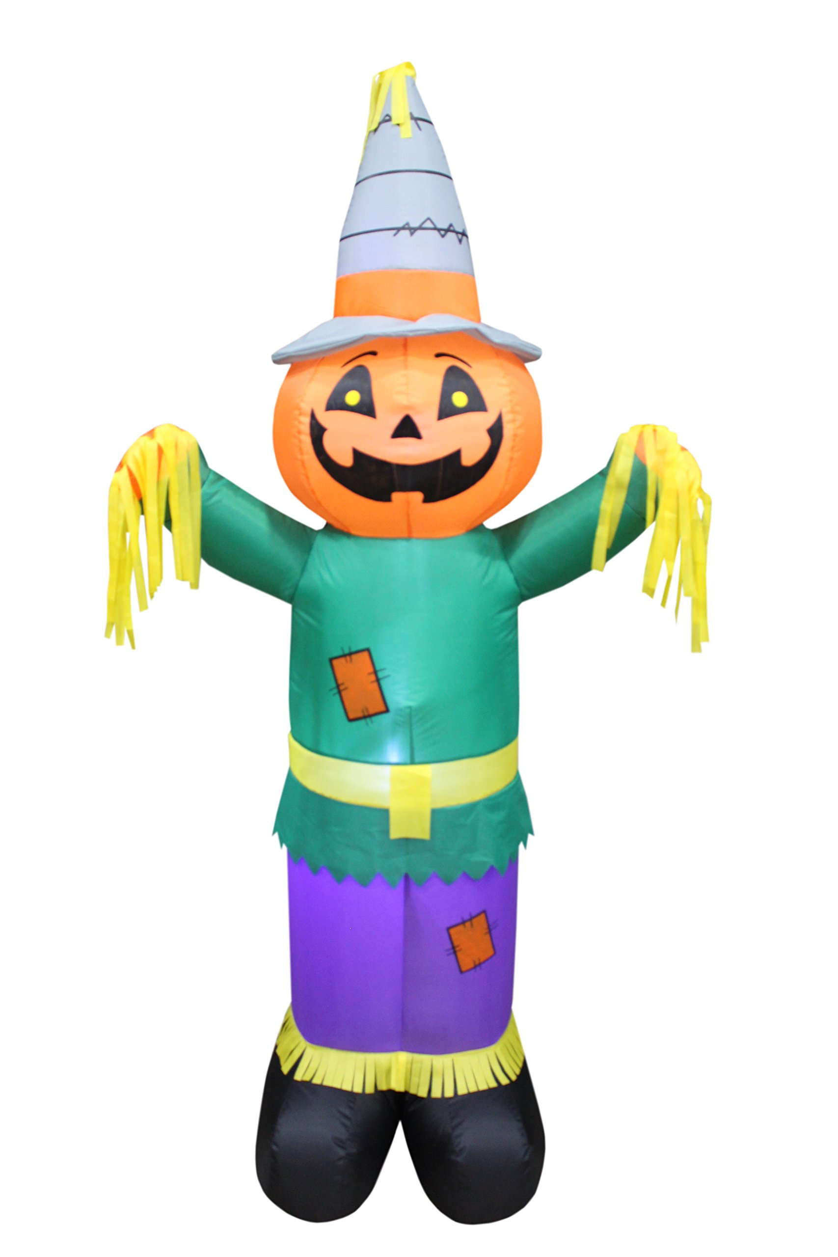 BZB Goods 6 Foot Tall Happy Thanksgiving Halloween Inflatable Pumpkin Scarecrow LED Lights Lighted Blowup Party Decoration for Outdoor Indoor Home Garden Family Prop Yard