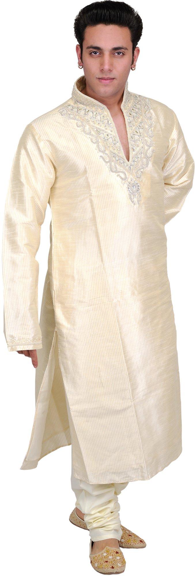 Exotic India Cream Wedding Kurta Pajama Set - Off-White Size 42 by Exotic India