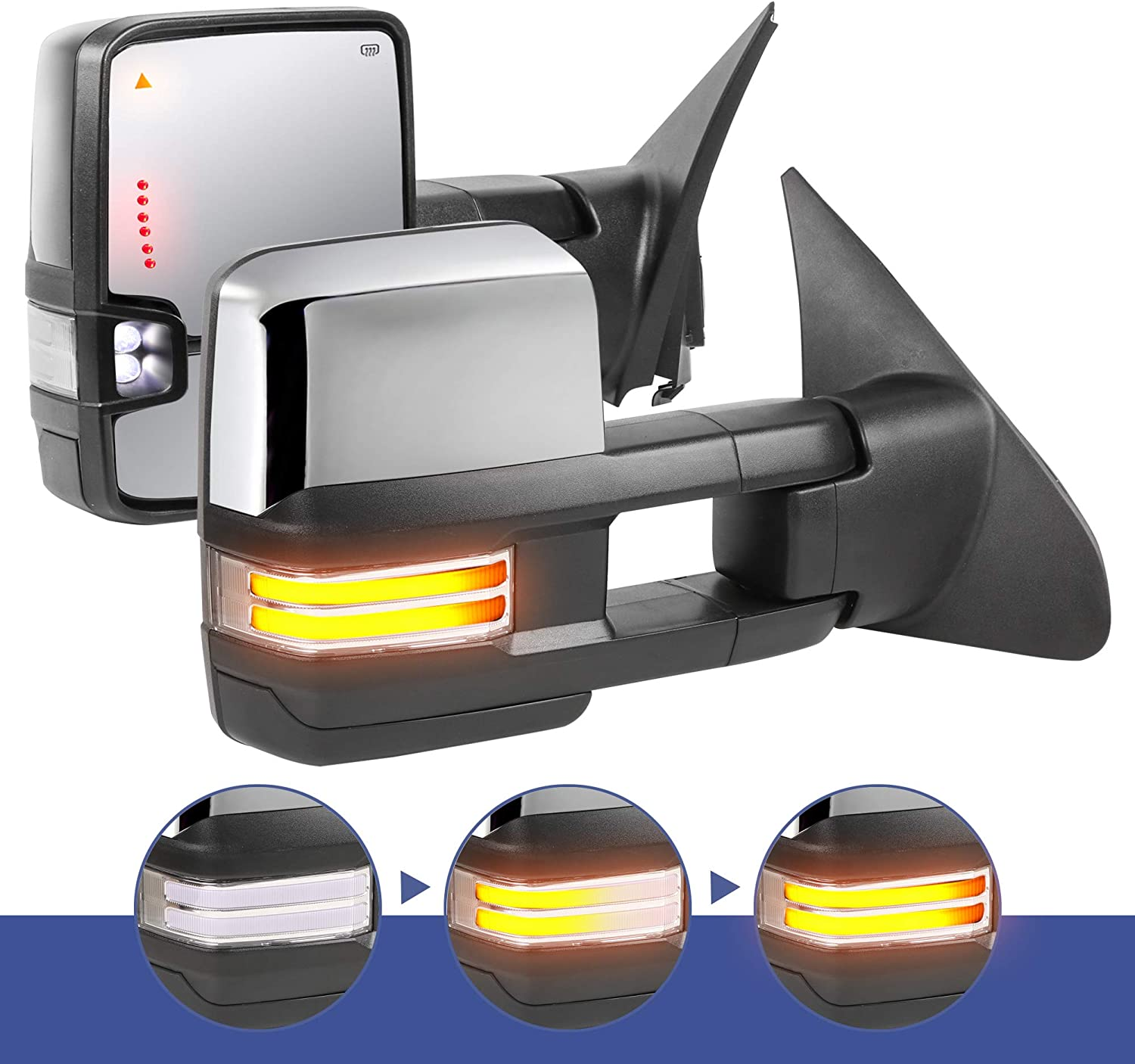 07-17 Towing Mirrors for 2007 2008 2009 2010 2011 2012 2013 2014 2015 2016 2017 Toyota Tundra with Power Glass Heated Turn Signal Light Running Light Blind Spot Light Extendable Fold Pair Set