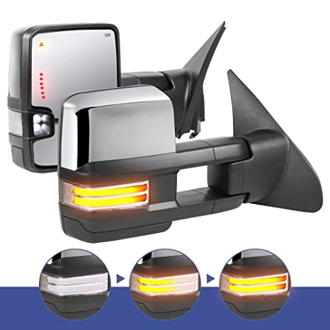 Power Heated Mirrors Chrome Pair Set for Toyota Sequoia Tundra Pickup Truck
