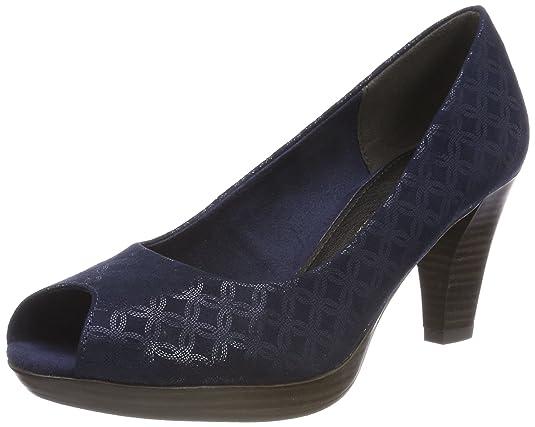 29302, Zapatos de Tacón con Punta Abierta para Mujer, Beige (Dune Metallic), 36 EU Marco Tozzi