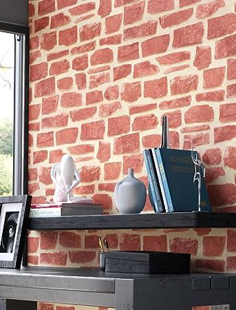 Steintapete Vlies Rot Beige Edel | Schöne Edle Tapete Im Steinmauer Design  | Moderne 3D Optik