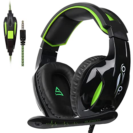 Gaming Headset, Supsoo Gaming Auriculares con micrófono 3.5 mm Volumen On estéreo de graves auriculares