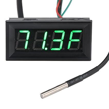 amazon com drok fahrenheit f panel thermometer dc 12v voltmeter rh amazon com