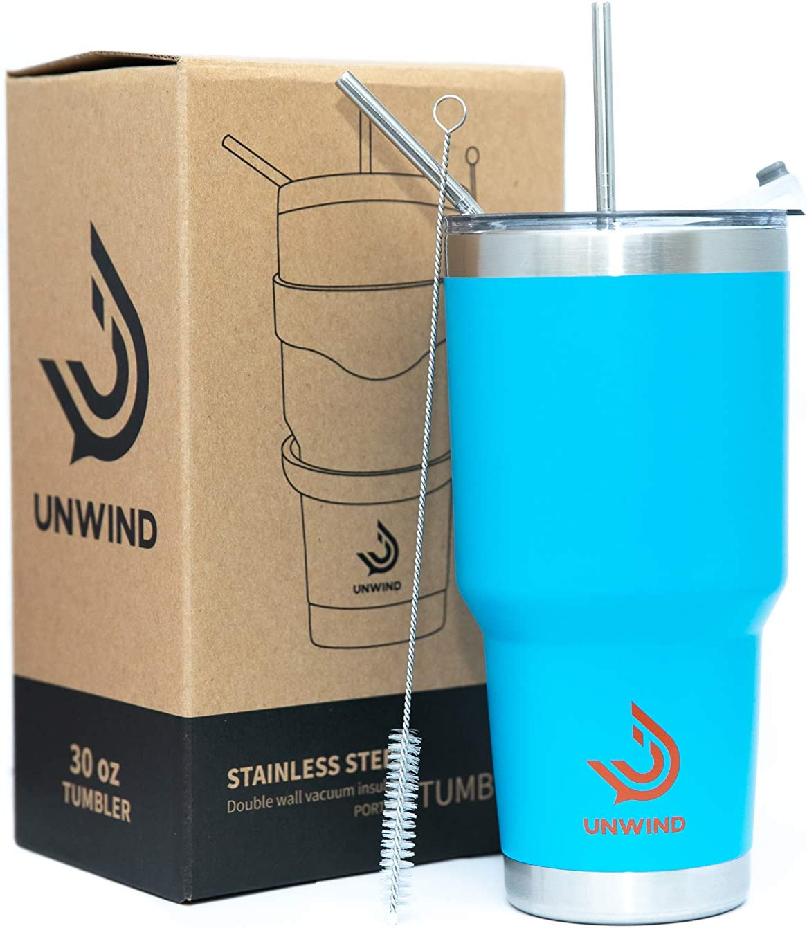 Unwind 30 oz Stainless Steel Tumbler Vacuum Insulated Coffee Cup Large Travel Mug Works Great for Ice Drinks and Hot Beverage - Blue