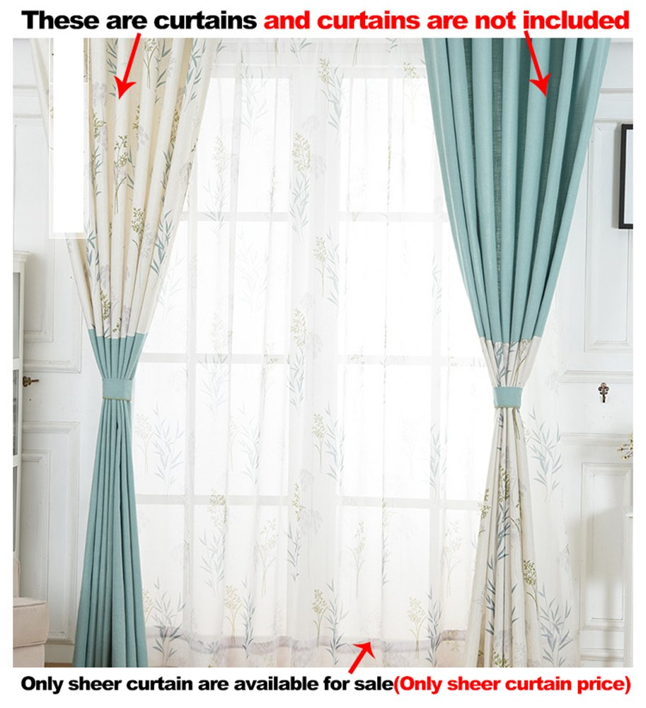 ASide BSide Willow Foliage Printed Rod Pocket Top Lodge Style Breathable Window Decoration Sheer Curtains For Child Room Houseroom and Sitting Room (1 Panel, W 52 x L 63 inch, White)