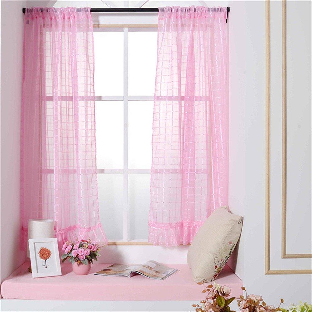 SHZONS 2 Piece Plaid Window Sheer Curtain Voile Panel Short Drape Rod Pocket Treatments 39x55 inch
