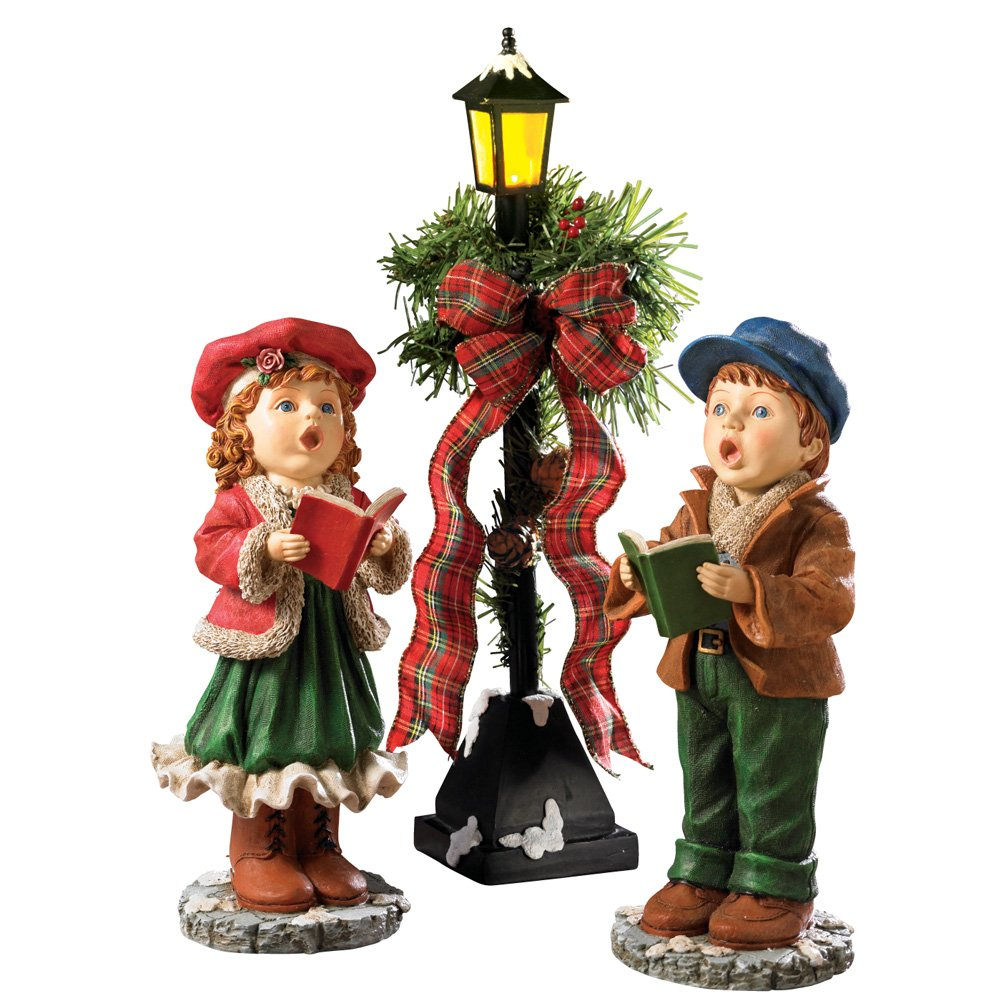 Christmas Statue Decorations: 3x CHRISTMAS Carollers Figurine Set For Indoor Outdoor