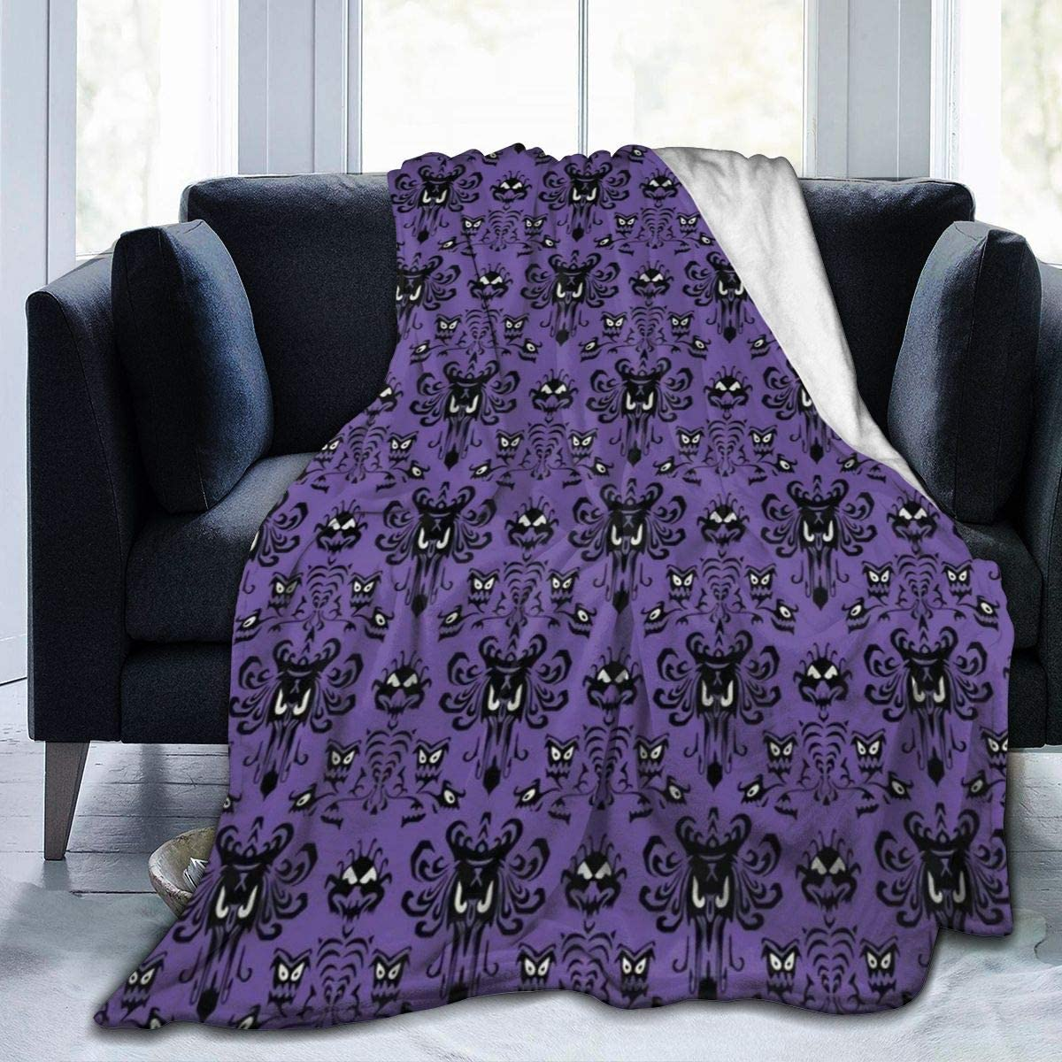 """MSGUIDE Haunted Mansion Flannel Throw Blanket for Kids Adult, Anti-Pilling Cozy Bed Blanket Lightweight Microfiber Blankets for Couch/Bed/Sofa/Office Suitable for All Season (60"""" x 50"""")"""