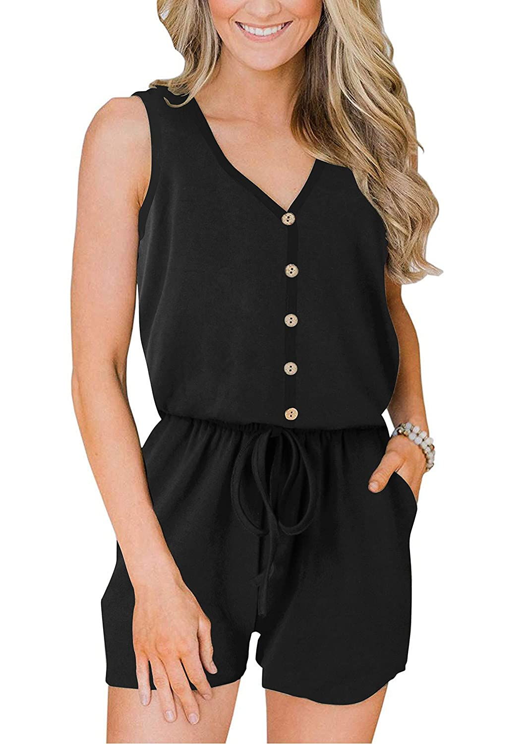 ANRABESS Women/'s Summer Casual Sleeveless Front Button Loose Jumpsuits Rompers with Pockets