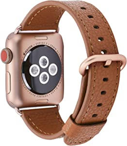JSGJMY Compatible with Apple Watch Band 38mm 40mm 42mm 44mm Women Men Genuine Leather Strap for iWatch SE Series 6 5 4 3 2 1(Light Brown+Match SE/6/5/4/3 Gold Aluminum, 38mm/40mm S/M)