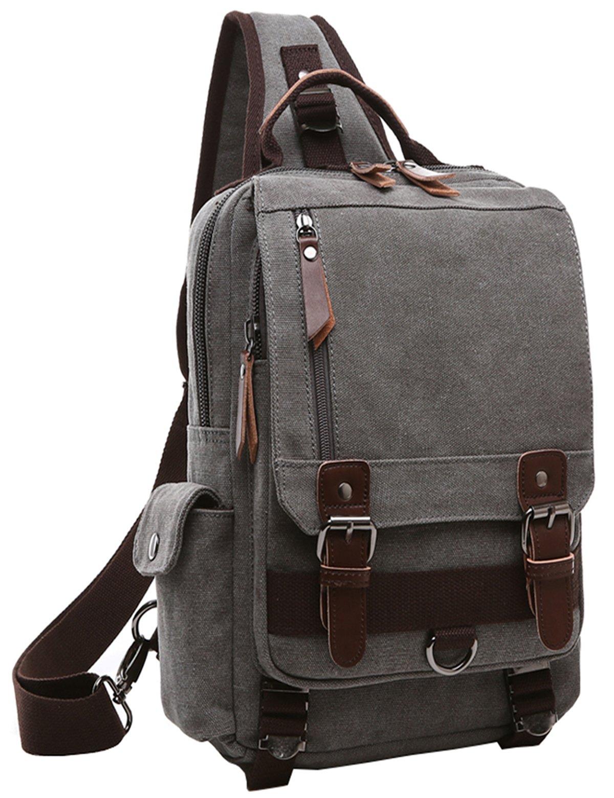 El-fmly Canvas Messenger Sling Bag Cross Body Shoulder Backpack, Shoulder Bag Travel Hiking Chest Bag Outdoor Sport Pack Rucksack for iPad Laptop Computer Men Women - Grey