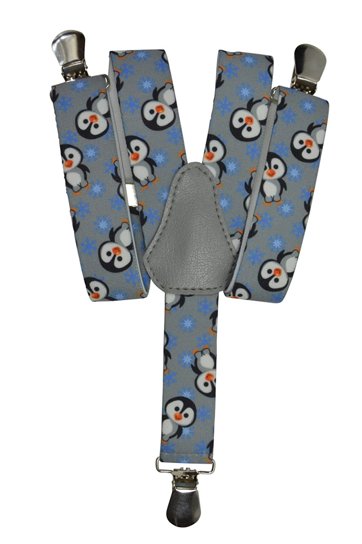 Olata Bretelle Elasticizzata per Bambini 1-5 Anni, Y' Clip design, Pinguino Modello Y' Clip design Pinguino Modello - Blu KIDSBRACESJpenguin-blue