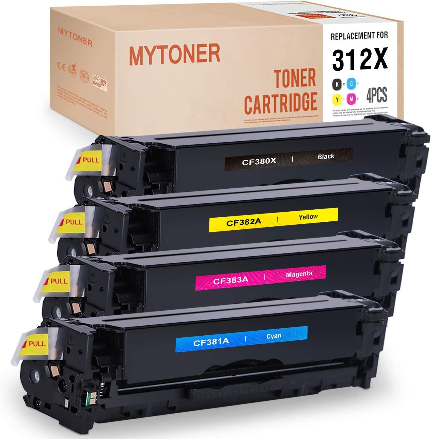 Works with: Color Laserjet Pro MFP M476 Print.After.Print Compatible Toner Replacement for HP CF382A M476DW M476DN M476NW Yellow
