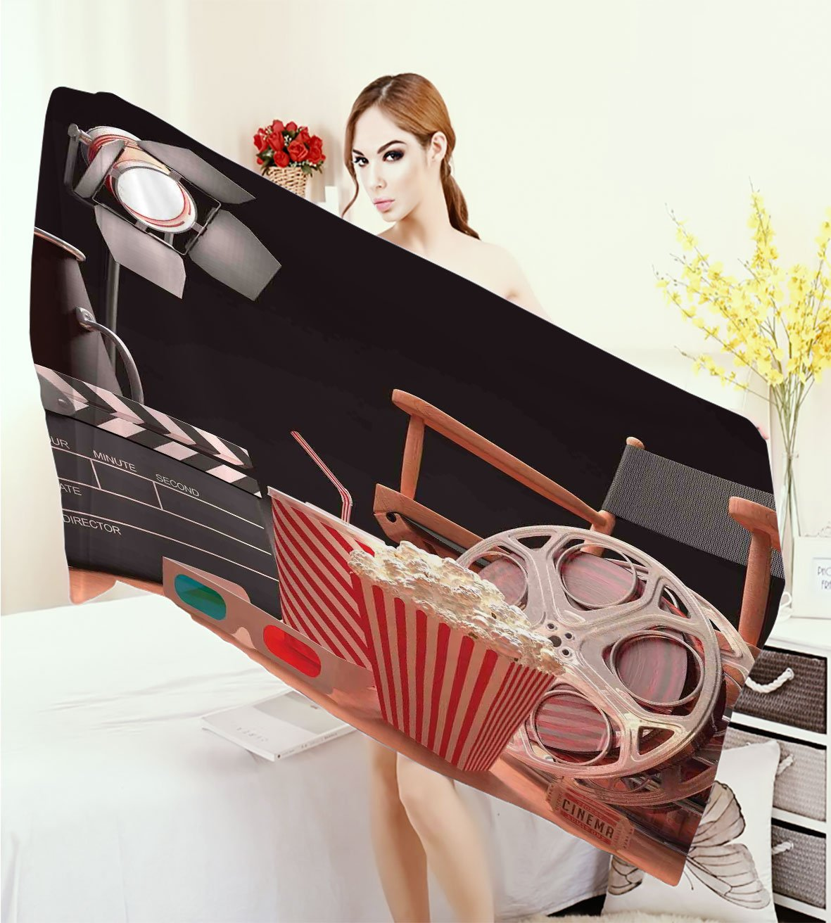homecoco Movie Theater Wrap Towels Objects of the Film Industry Hollywood Motion Picture Cinematography Concept Quick-Dry Towels Multicolor