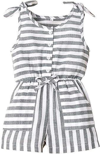 Ma.Lina.Ann طفل فتاة طفل رضيع بلا أكمام بذلة حزام مخطط ارتداءها عارية الظهر ملابس الصيف رومبير