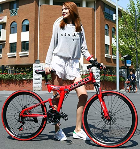 TZYY Engranajes 24in Freno De Disco Doble Bicicleta,Al Aire Libre Ligero Cambio De 7 Velocidades Bicicleta Plegable Urbana,Outroad Plegable Bicicleta De Montaña B 24in: Amazon.es: Deportes y aire libre