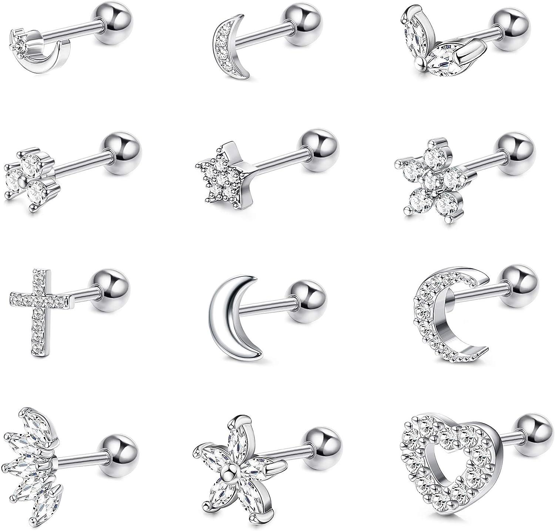 Hanpabum 12PCS 16G Stainless Steel Helix Ear Cartilage Stud Earrings for Women Men Flower Heart Star Moon CZ Barbell Helix Tragus Piercings Jewelry