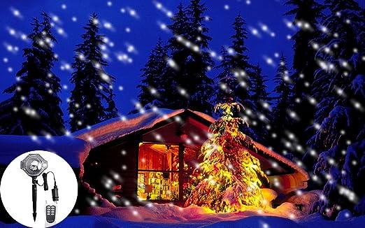 KIKIGOAL LED Snowfall Light Christmas Snow Falling Night Lights Projectors  White Snowflake Flurries Rotating Spotlight Indoor